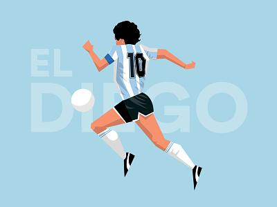 Diego Maradona flat illustration photoshop illustrator futebol soccer football argentina el diego maradona diego maradona number 10