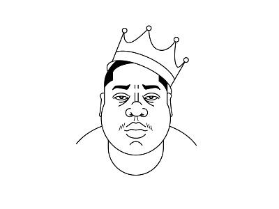 Biggie Smalls photoshop illustrator icon line icon illustration hip hop rapper crown king notorious big biggie