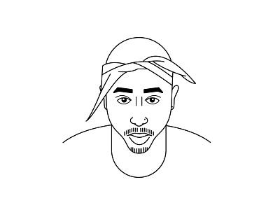 Tupac Shakur vector photoshop illustrator illustration rapper west coast hip hop line icon 2pac tupac
