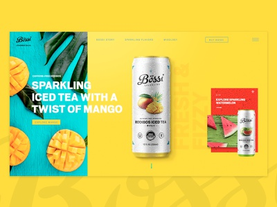 Bossi Sparkling product design can beverage ux web