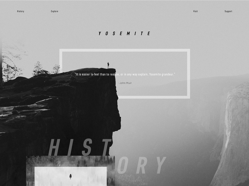 Yosemite 120 years old magnetic black  white ux ui web design nature yosemite