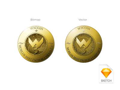 Redesign of w3coin currency digital crytopcurrency coin sketch