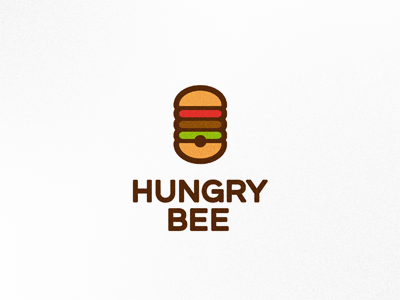 Hungrybee logo mark brand logo design logo designer creative logo creative symbol bee burger hamburger hive hungry food eat