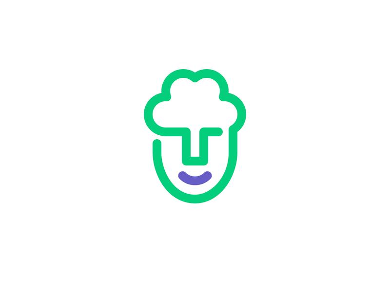 green mind eco think green tree mind head memorable simple symbol logo