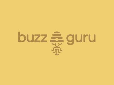 Buzzguru logo logo design line bee guru hive talk simple body meditate india turban