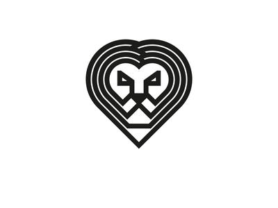 LION HEART heart symbol logo lion