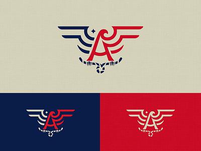 America letter a simple bull falcon eagle america mark logo