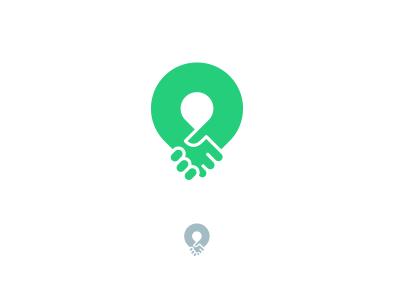 Bank time loop handshake map pin share time bank brand mark logo