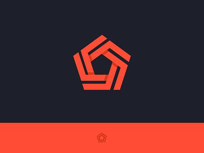 pentagon symbol strong symbol consistent pentagon creativity innovation branding design technology five mark logo