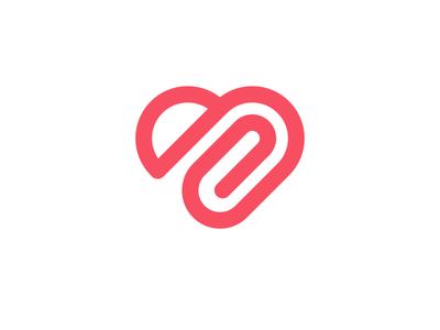 With donation money coin clip donation attach heart brand mark logo