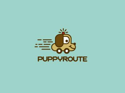 Puppyroute logo mark brand concept creative logo puppy doggy pet pets services