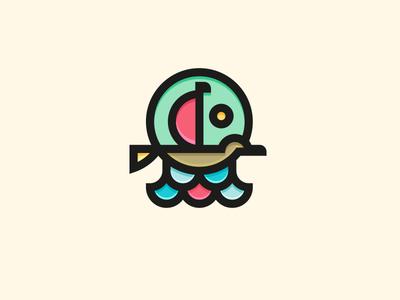 Bird Boat imagination fantasy sail fly sea sun sky water boat bird brand logo