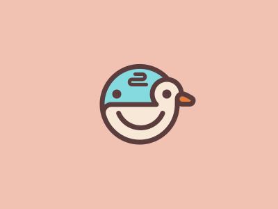 Baby duck imagination creative happy quack sky duck baby child smile brand mark logo