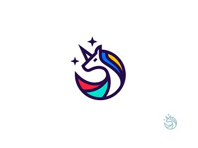 Unicorn distinctive simple color unicorn symbol mark logo