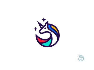Unicorn distinctive simple color unicorn symbol mark logo