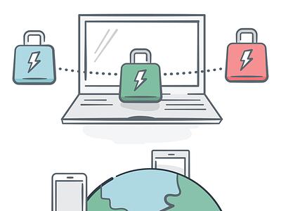 Cyber security/IT illustrations technology design illustrator illustration vector