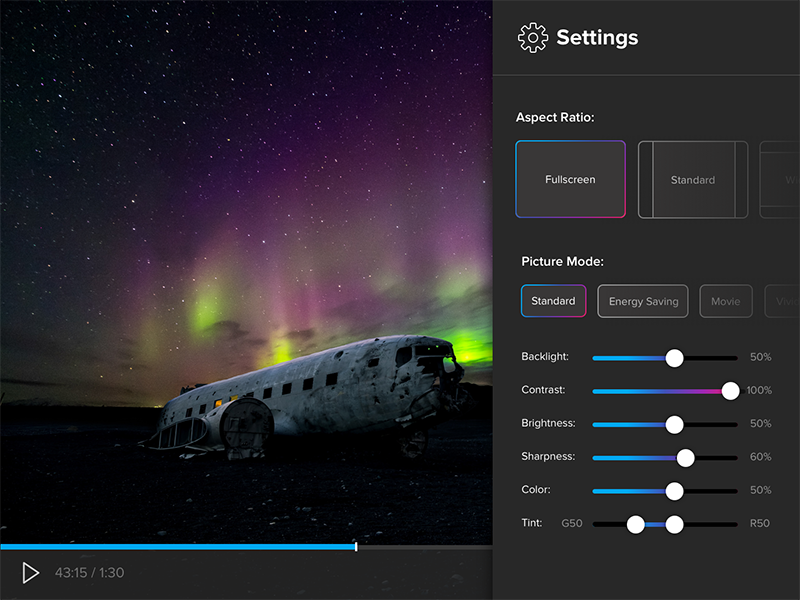 Daily UI #7: Settings dark gradients video scrubber play select form slider settings tv daily ui