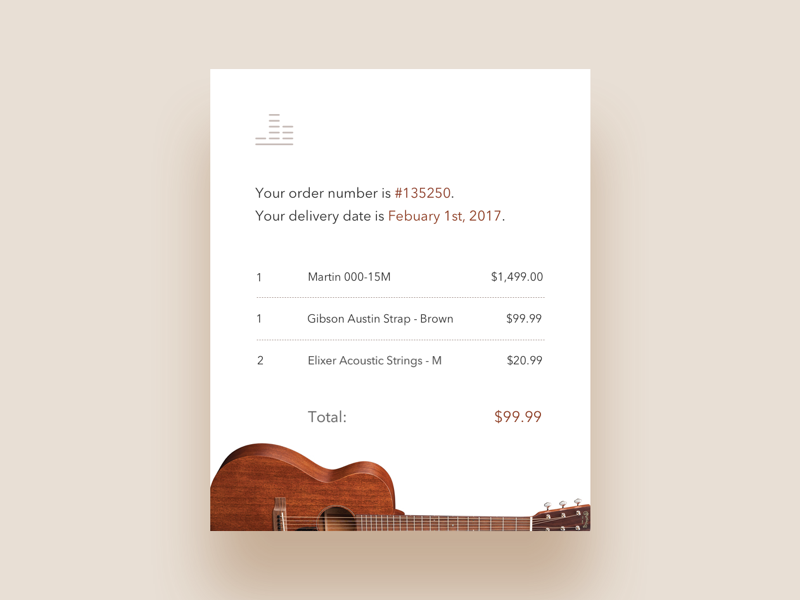 Daily UI #17: Email Receipt by Evan Fletcher on Dribbble