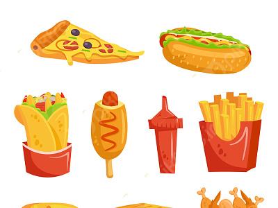 وکتور مجموعه آیکون کارتونی فست فود فریپیک پیکفری pikfree vector pizza fastfood همبرگر ساندویچ فست فود وکتور دانلود وکتور