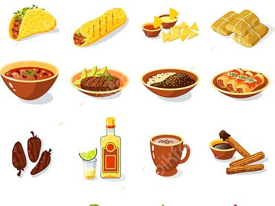 فایل لایه باز مجموعه آیکون غذای مکزیکی photoshop psd pikfree فریپیک پیکفری رستوران کترینگ مکزیکی فتوشاپ لایه باز غذا فایل لایه باز