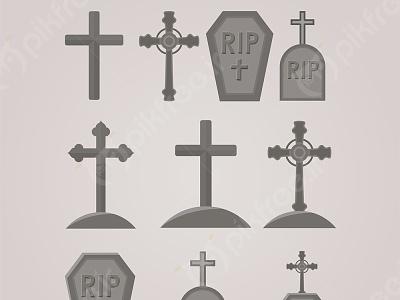 وکتور مجموعه سنگ قبر با طرح صلیب vector pikfree فریپیک پیکفری قبرستان گورستان قبر سنگ قبر هالووین وکتور دانلود وکتور