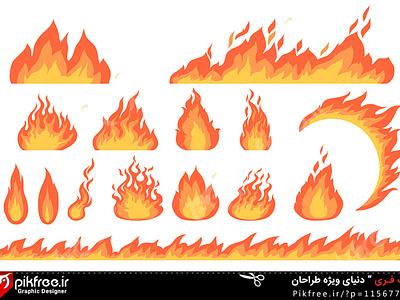 وکتور تصویر سازی مجموعه شعله آتش fire شعله آتیش آتش vector وکتور دانلود وکتور