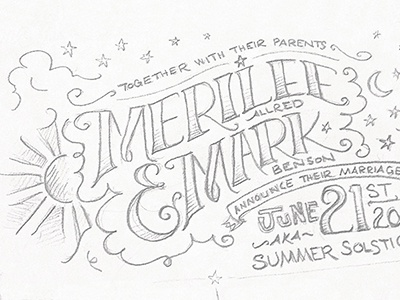 Invite lettering drawing sketching sketch wedding invite invitation rough draft stars summer solstice