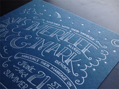 Wedding Invite wedding invitation lettering hand lettering letterpress summer solstice
