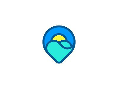 Hot Tours heart sky location sun sea wave pin identity branding sign symbol mark logo smolkinvision