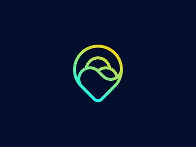 Hot Tours location pin sun heart wave sea sign symbol identity branding mark logo smolkinvision
