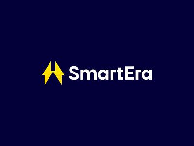 Smart Era bolt lightning smart home house flash electric logotype icon sign symbol identity branding mark logo smolkinvision