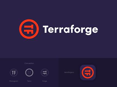 Terraforge monogram forge terra terraforge logotype icon sign symbol identity branding mark logo smolkinvision