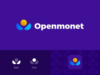 Openmonet shell crypto coin monet open logotype icon sign symbol identity branding mark logo smolkinvision