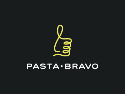 Pasta Bravo smolkinvladislav mark up thumbs good food italian like noodle bravo pasta logo