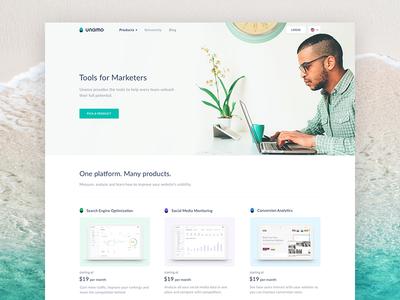Unamo Homepage ui landing martketing tools conversion social seo turquoise unamo