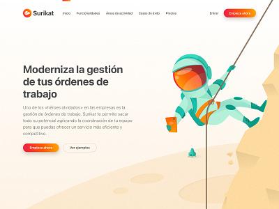 Surikat Web 01 discover space landing illustration uiux webdesign