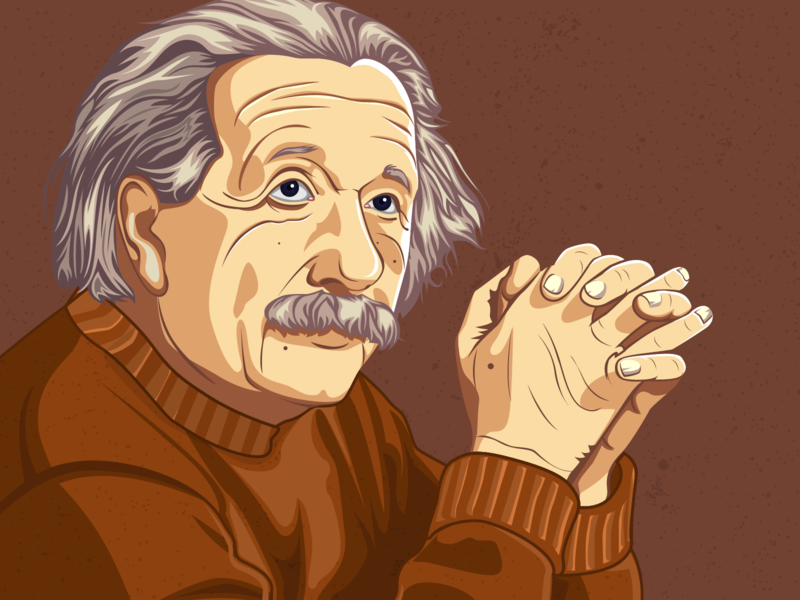 Albert Einstein Illustration vexel hello dribbble digital illustration digital painting avatar skin tone adobe illustrator vector illustration vector artwork vector artist vector art scientist science albert einstein