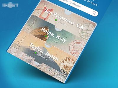 Choose Your Destination ui graphic design promotional travel blue iphone