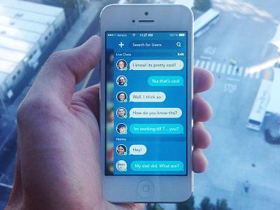 Mock Chat ui mobile design app photoshop simple beautiful iphone 5 new york