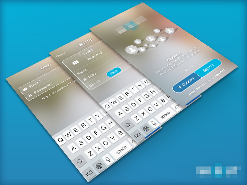 Sign Up ios7 mobile ui clean san francisco app design photoshop ux blue fun flat design