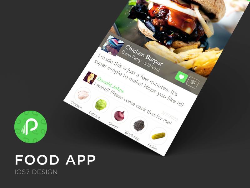 Food App ui ux visual design san francisco mobile iphone photoshop colors new