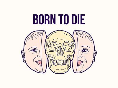 Born To Die Illustration key6 art key6art baby popart skull vectorart drawing illustration