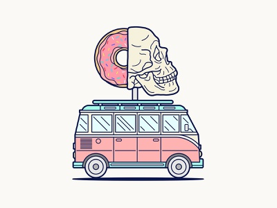 Donut Skull Van key6 art key6art popart van donut skull vintage drawing vectorart digitalart illustration