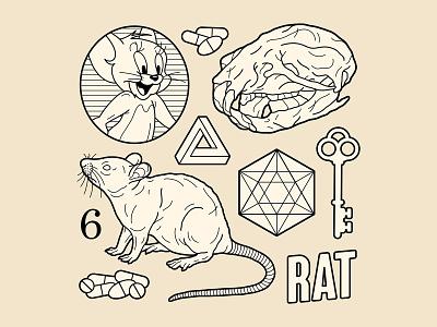 Rat Tattoo Flash tattoo flash tattoo key6 art key6art mouse mice rat skull graphicdesign vintage drawing popart vectorart digitalart illustration