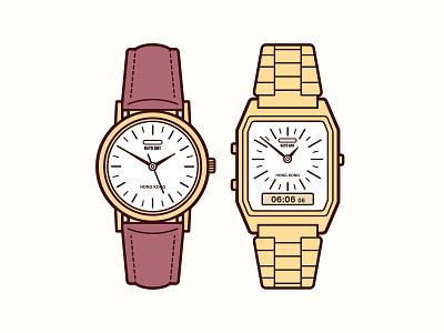 Vintage Old Watches Illustration key6 art key6art popart graphicdesign vintage digitalart illustration vectorart watches watch