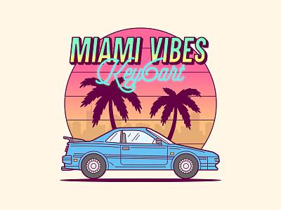 Miami Vibes Illustration key6 art key6art car miami graphicdesign retro vectorart digitalart drawing illustration
