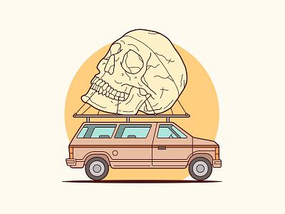 Skull Van Illustration key6 art key6art car van skull graphicdesign popart vectorart drawing illustration