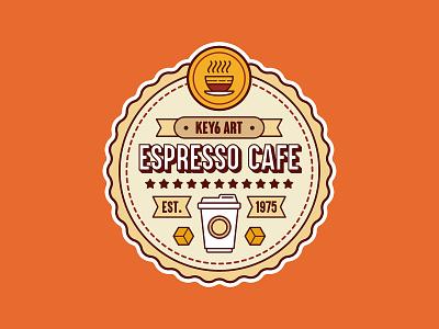 Espresso Cafe Vintage Label coffee cafe key6 art key6art vintage logo vintage logo design logo vectorart graphicdesign