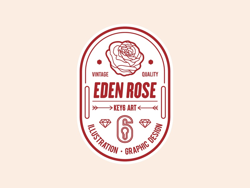 Eden Rose Vintage Label key6 art key6art rose loogo popart vintage label vintage logo labeldesign logodesign logo vectorart graphicdesign