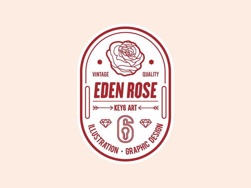 Eden Rose Vintage Label key6 art key6art rose loogo popart vintage label vintage logo labeldesign logodesign logo vectorart graphicdesign